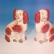 REDUCED Pr. of Staffordshire Pottery Spaniels