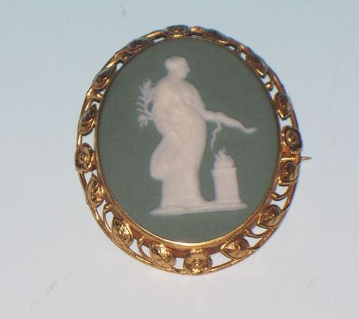 Signed Wedgwood Brooch, 14K frame