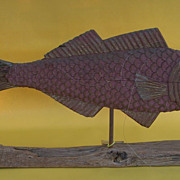 Large Carved Wood Weathervane of a Cod