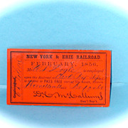 New York & Erie February 1856 Pass