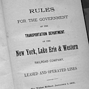 New York Lake Erie & Western Railway Book Of Rules 1891
