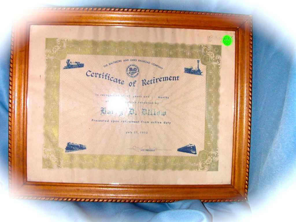 Baltimore & Ohio Railroad Framed Certificate