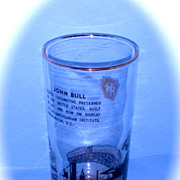 "Pennsylvania Railroad ""John Bull"" glass tumbler"