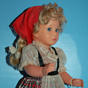 "1950s 16"" KATHE KRUSE Doll w Turtle Mark - All Original with Tag!"