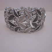 Signed Coro Enamel and Silver Tone Bracelet