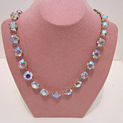 Delicate Bezel Set Crystal Vintage Necklace