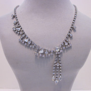 Unique Off Set Rhinestone Necklace With Heart Shaped Stone