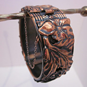 Very Pretty Flower & Leaf Copper Bracelet
