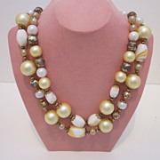 Fabulous Vintage Glass And Plastic Beaded Creamy Yellow Necklace