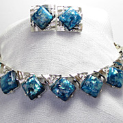 Pretty Blue Confetti Coro Necklace & Earring Set