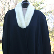 Vintage Ladies Black Wool Coat with White Rabbit Fur Collar
