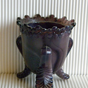 Degenhart Forget-Me-Not Amethyst Purple Slag Toothpick Holder
