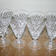 "SALE PENDING Waterford Cut Crystal Wine Stems (8) ""Adare"""