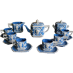 Rare Vintage German Jasperware Jasperware Demitasse Tea Coffee Set  Service,Schafer and Vater