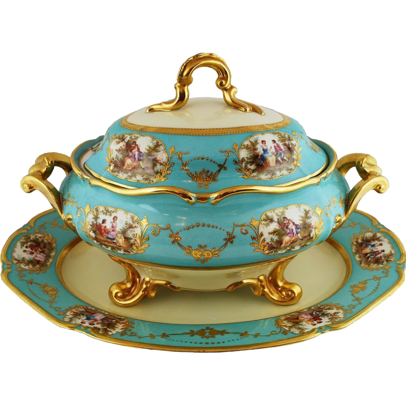 Antique Large Thomas Bavaria Celeste Blue Gold Tureen ca1880