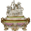 Antique Large Old Paris Porcelain Jewelry Box Casket with Parian Figural Group Top