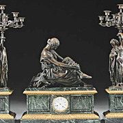 Antique French Bronze Green Marble Clock Set Signed Pradier