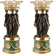 Pair Vintage Large Malachite Gilt Bronze Urns Three Graces Sculpture