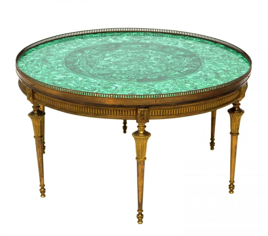 Vintage Malachite and Brass Round Coffee Table