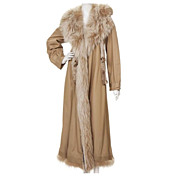 Designer Fendi Coat, Fox Fur Collar Treatment, size L