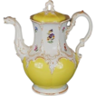 Vintage Yellow Meissen Coffee Pot with Flowers