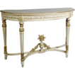 Vintage Louis XVI Style White Gilt Demilune Console Entry Table