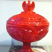 Red Slag Fenton Bicentennial Compote 1976