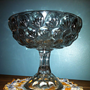 Antique High Compote 1894 McKee Glass Pattern Yale or Crows Feet
