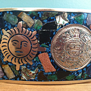 Sterling Silver  925 Mexico Mayan Calendar Sun Belt Buckle