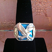 Vintage Men's Sterling 925 Turquoise & Eagle Ring Size 9