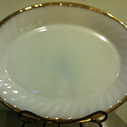Fire King White Milk Glass 22K Gold Rim Serving Plate