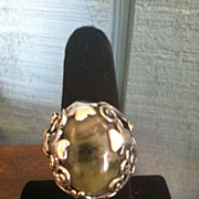 SOLD Lovely Size 8 Sterling Silver Connemara Marble Irish Clover Ring
