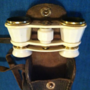 Vintage White Enamel Opera Glasses Binoculars With Case Marked C