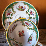Vintage Rutland  Mystical Bird Teacup & Saucer England Grosvenor China Company