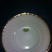 "Fire King Anchor Hocking 8"" Serving Bowl White 22 K-Gold Rim"