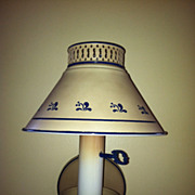 Vintage Tole Wall Lamp Light Sconce Tan & Blue