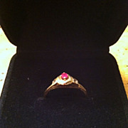 SALE Marked 18 K Gold Estate Ruby Ring Size 6