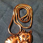 SOLD Vintage Gorham Cat Pendant on Chain Silver in Color
