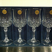 Set of 4 Cristal d'Arques Longchamp Wine Goblets France In Box