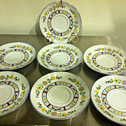 "Set of 7 Vintage George Briard 6"" Saucers Pattern Bretonne Pottery China"