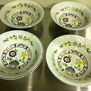 "Set of 4 George Briard 6 1/2"" Bowls Bretonne Pattern Pottery China"