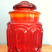 LE Smith Glass Moon & Star Canister Jar Circa 1968-83 Amberina Flame