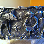 SOLD 1981 Pewter Belt Buckle Dreams Of Striking It Rich Panning for Gold