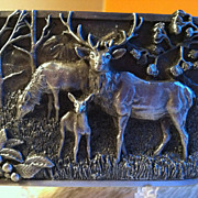 SOLD 1982 Sikiyou Pewter The Elk Belt Buckle