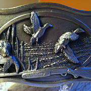 SOLD 1984 Duck Hunting Pewter Belt Buckle