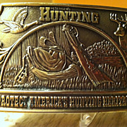 1976 Hunting Belt Buckle Heavy Brass Petersen Publishing Co.