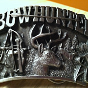 1989 Bow Hunter Pewter Belt Buckle Arroyo Grande Buckle Co,