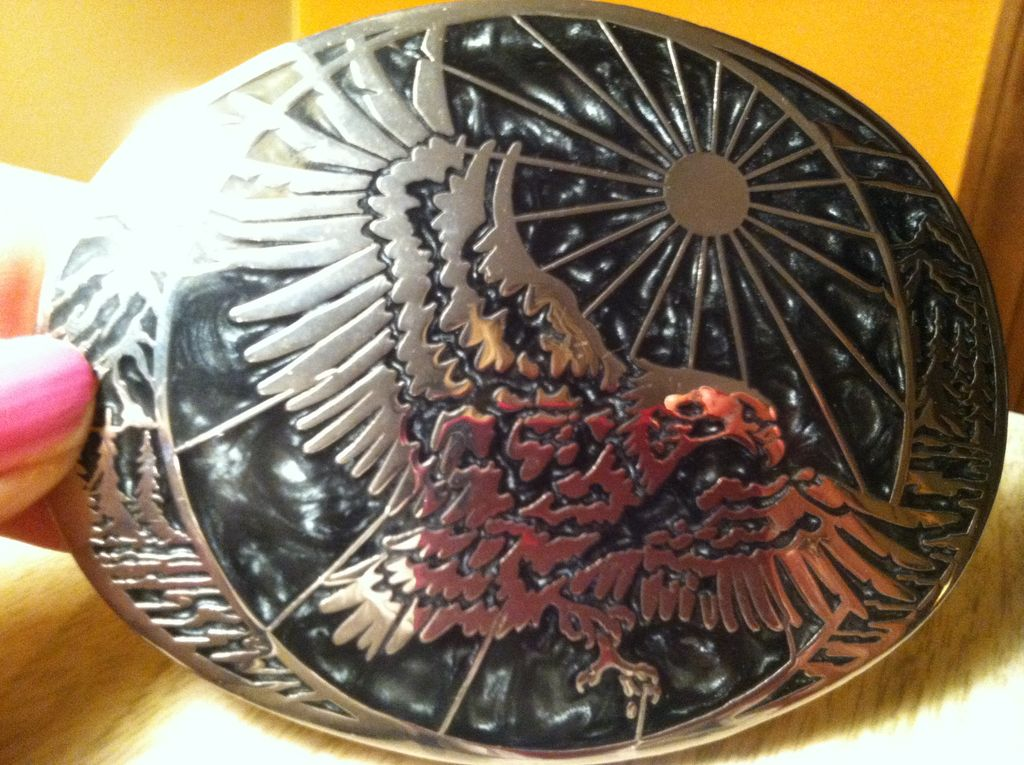 Large Award Designs Eagle Belt  Buckle With Black & silver Inlay