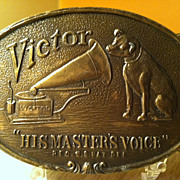 Vintage Victor Phonograph Brass Belt Buckle His Masters Choice