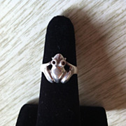 Cute Sterling Frog Ring Gem Eyes Size 5 3/4